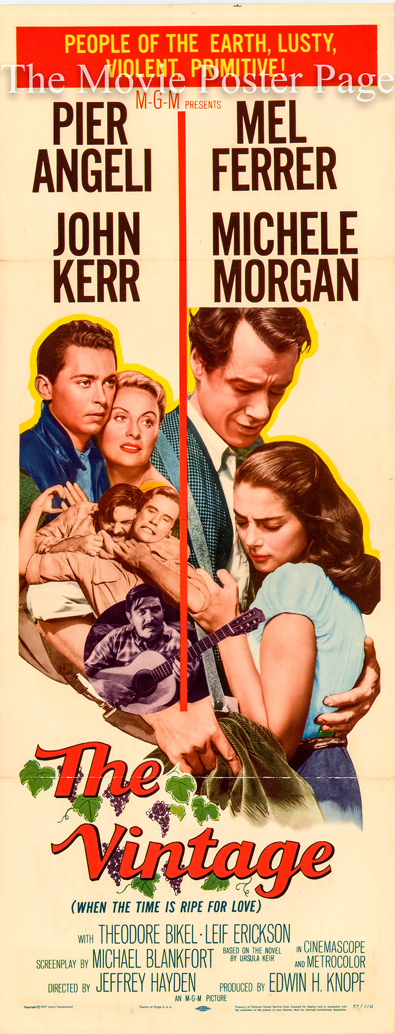 Pictured is a US insert promotional poster for the 1957 Jeffrey Hayden film The Vintage starring Pier Angeli and Mel Ferrer.