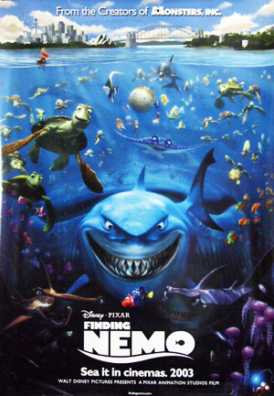 Pictured is a US promotional poster for the 2003 Andrew Stanton film Finding Nemo starring Alexander Gould as the voice of Nemo.