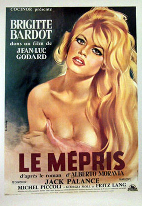 Pictured is a reprint of a French promotional film poster for the 1963 Jean-Luc Godar film Le Mepris starring Brigitte Bardot.