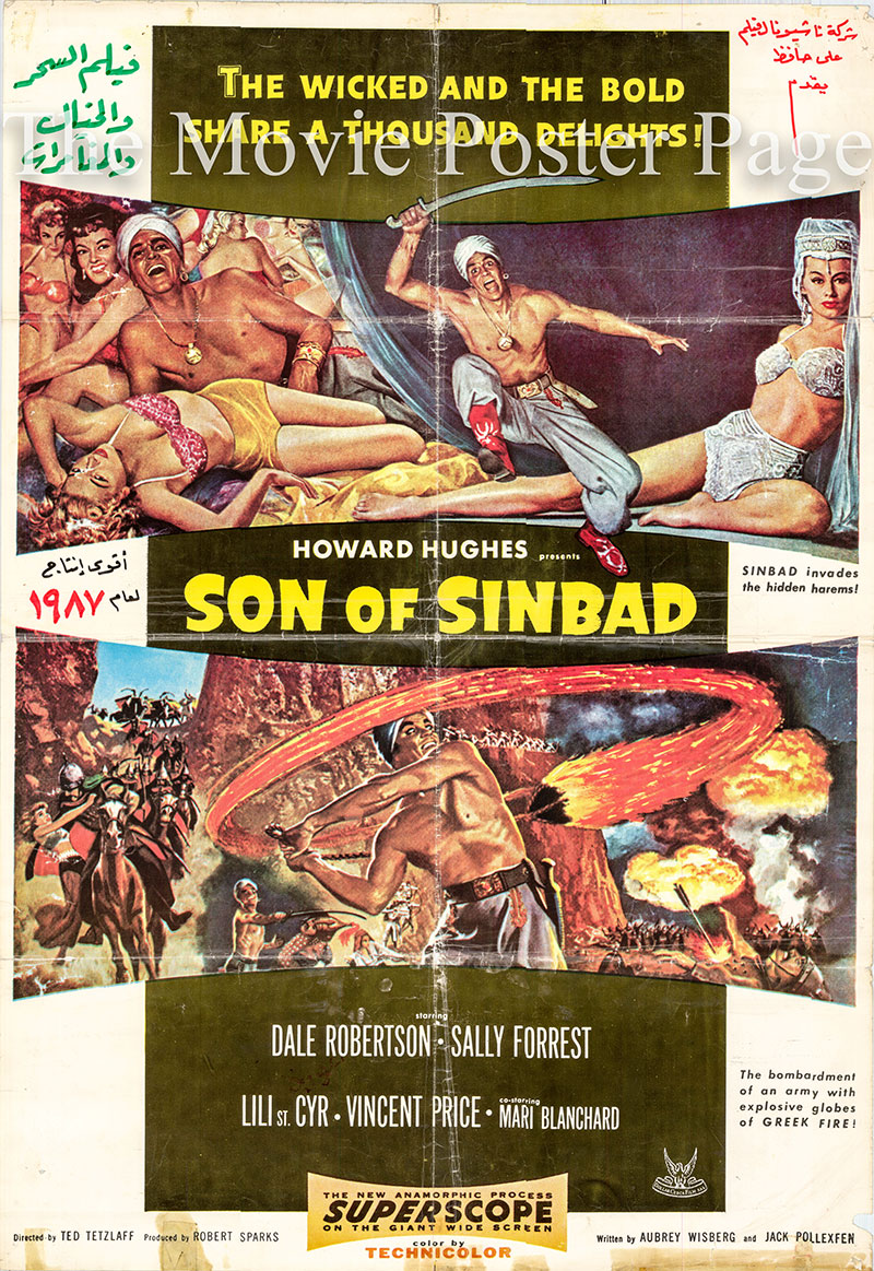 Pictured is a Lebanese one-sheet promotional poster for the 1955 Ted Tetzlaff film Son of Sinbad starring Dale Robertson.