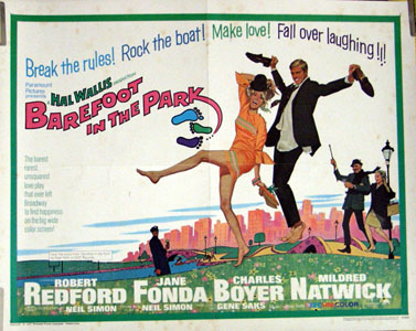 Pictured is a US promotional half-sheet poster for the 1967 Gene Saks film Barefoot in the Park starring Jane Fonda and Robert Redford.