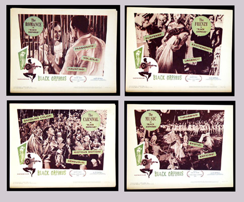 Pictured is a set of four US promotional lobby cards for the 1960 Albert Camus film Black Orpheus starring Brenno Mello.