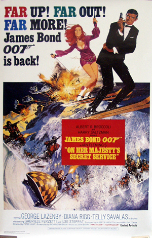Pictured is a reprint of the US one-sheet promotional poster for the 1969 Peter Hunt film On Her Majesty's Secret Service, starring George Lazenby and Diana Rigg.