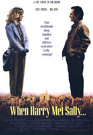 Pictured is a US one-sheet promotional reprint poster for the 1989 Rob Reiner film When Harry Met Sally starring Billy Crystal and Meg Ryan.