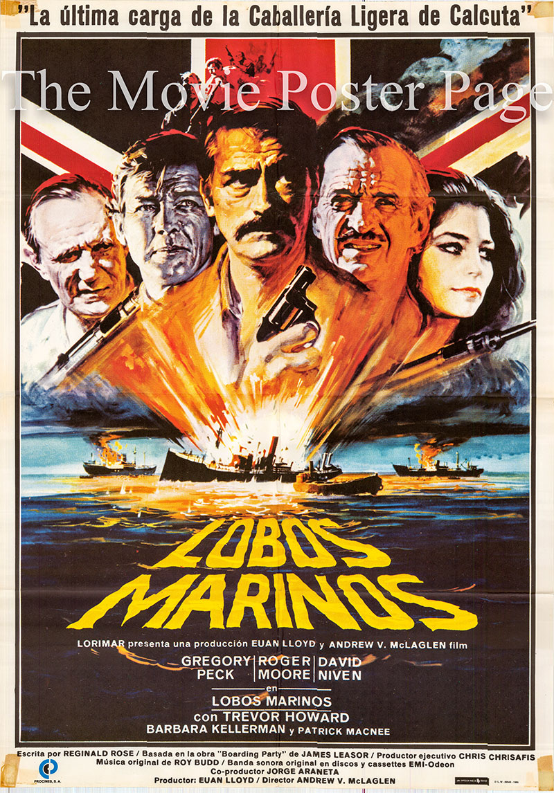 Pictured is a Spanish one-sheet poster for the 1980 Andrew V. McLaglen film The Sea Wolves starring Gregory Peck as Colonel Lewis Pugh.