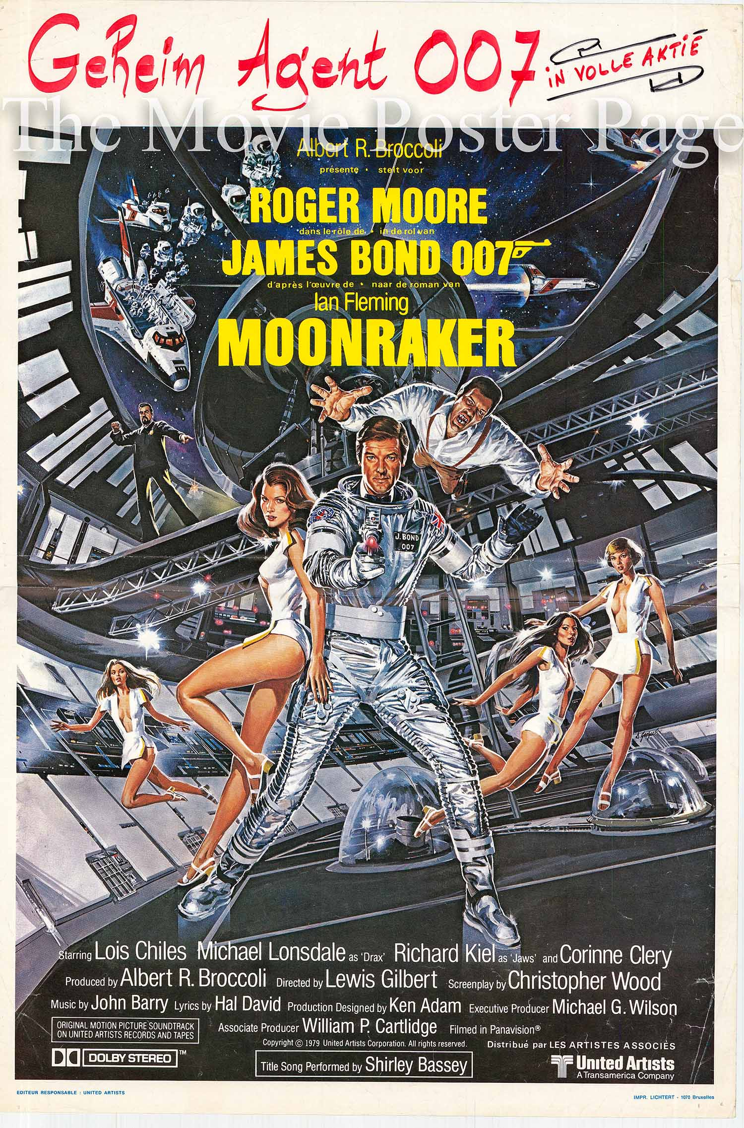 Pictured is a Belgian promotional poster for the 1979 Lewis Gilbert film Moonraker starring Roger Moore as James Bond.