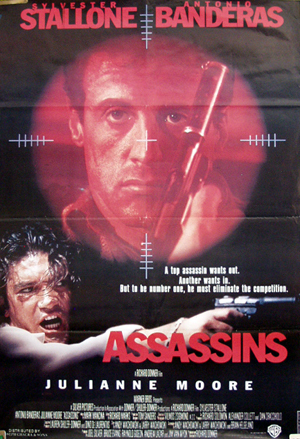 Pictured is a Lebanese one-sheet promotional poster for the 1995 Richard Donner film Assassins starring Sylvester Stallone and Antonio Banderas.