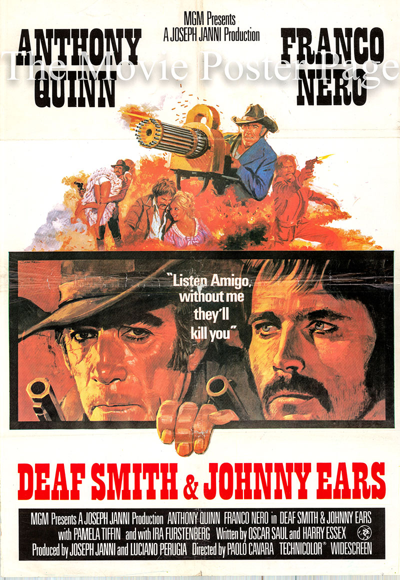 Pictured is a reprint promotional poster for the 1972 Paolo Cavara film Deaf Smith and Johnny Ears starring Franco Nero and Anthony Quinn.