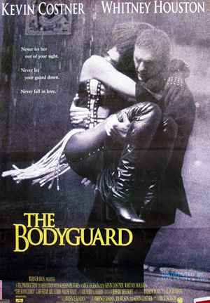 Pictured is a Lebanese one-sheet promotional poster for the 1992 Mick Jackson film The Bodyguard starring Kevin Costner and Whitney Houston.