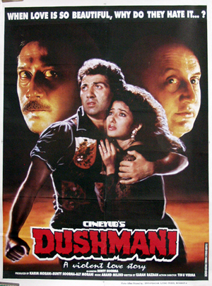 Pictured is an Egyptian promotional poster for the 1995 Bunty Soorma film Dushmani: A Violent Love WStory starring Sunny Deol.