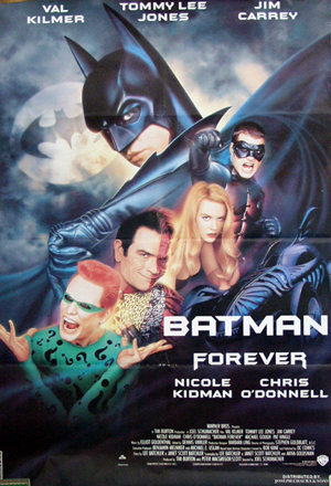 Pictured is a Lebanese one-sheet promotional poster for the 1995 Joel Schumacher film Batman Forever starring Val Kilmer.