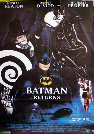 Pictured is an Lebanese one-sheet promotional poster for the 1992 Tim Burton film Batman Returns starring Michael Keaton.