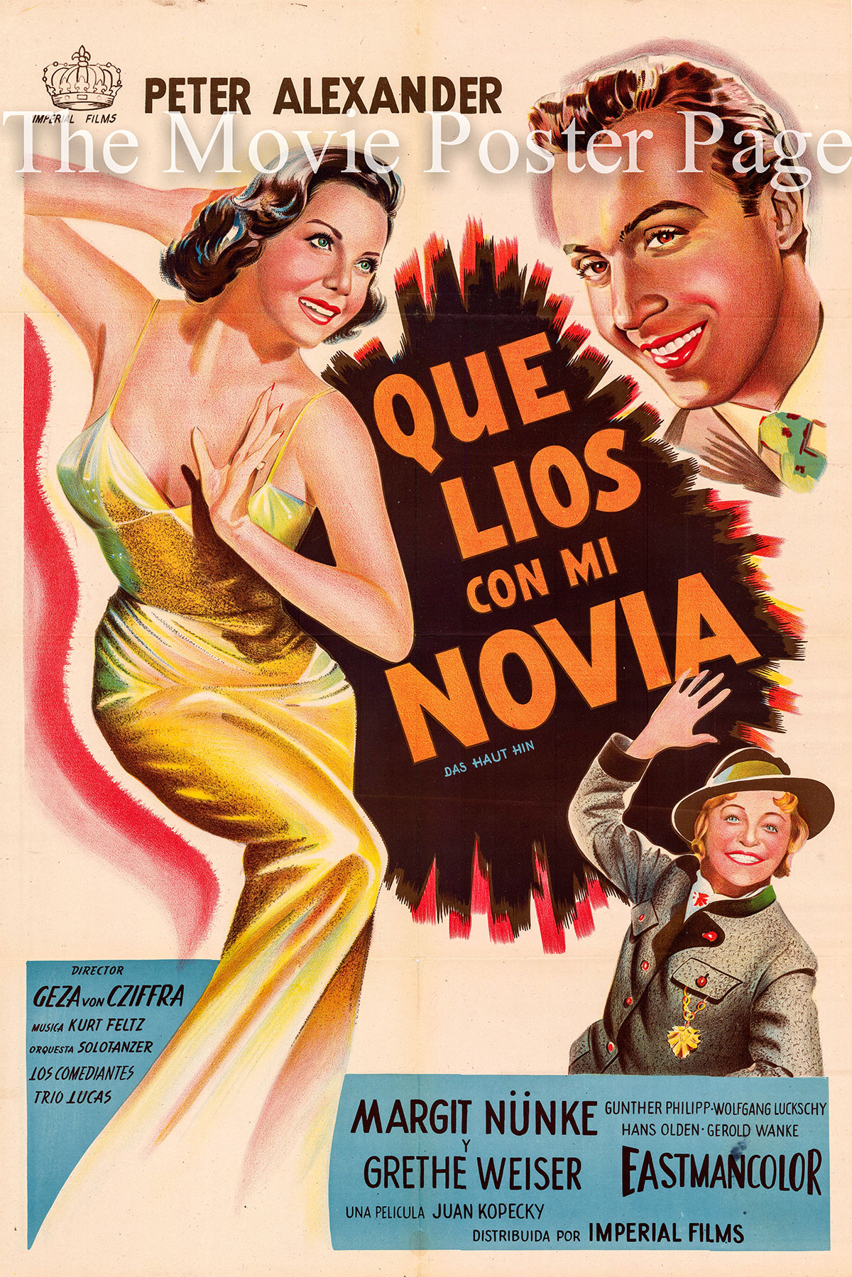 Pictured is an Argentine one-sheet poster for the 1957 Geza von Cziffra film Das Haut Hin starring Peter Alexander.