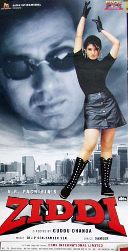 Pictured is an Indian  promotional poster for the 1997 Guddu Dhanoa film Ziddi starring Sunny Deol.