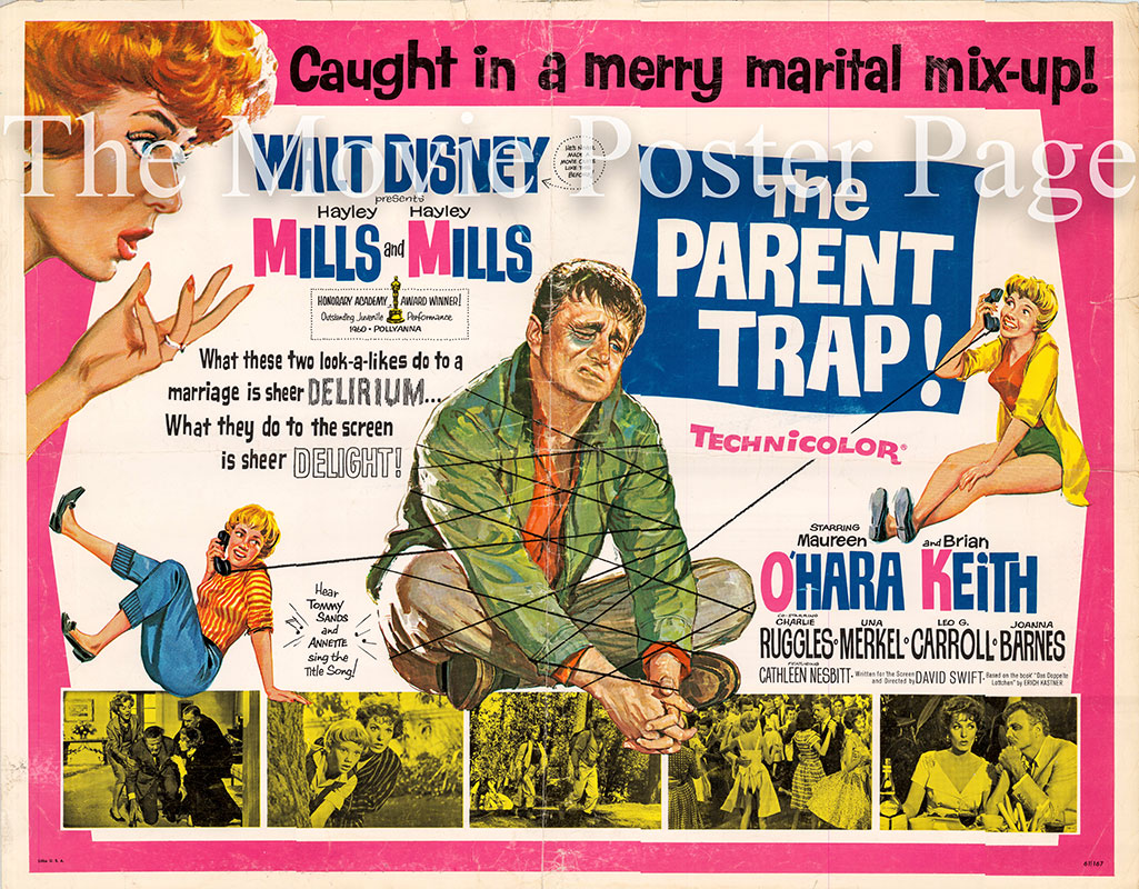 Pictured is a US half-sheet promotional poster for the 1961 David Swift film The Parent Trap starring Hayley Mills.