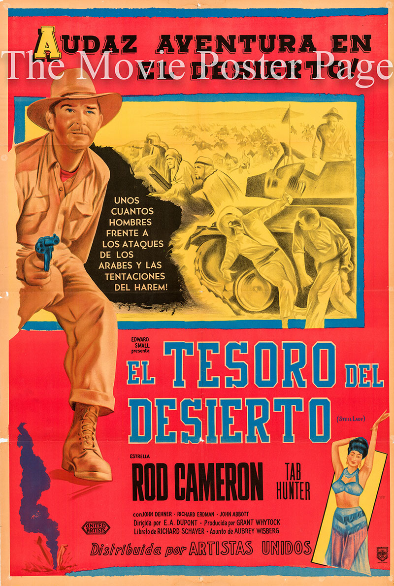Pictured is an Argentine promotional poster for the 1953 Ewald Andre Dupont film Steel Lady starring Rod Cameron.