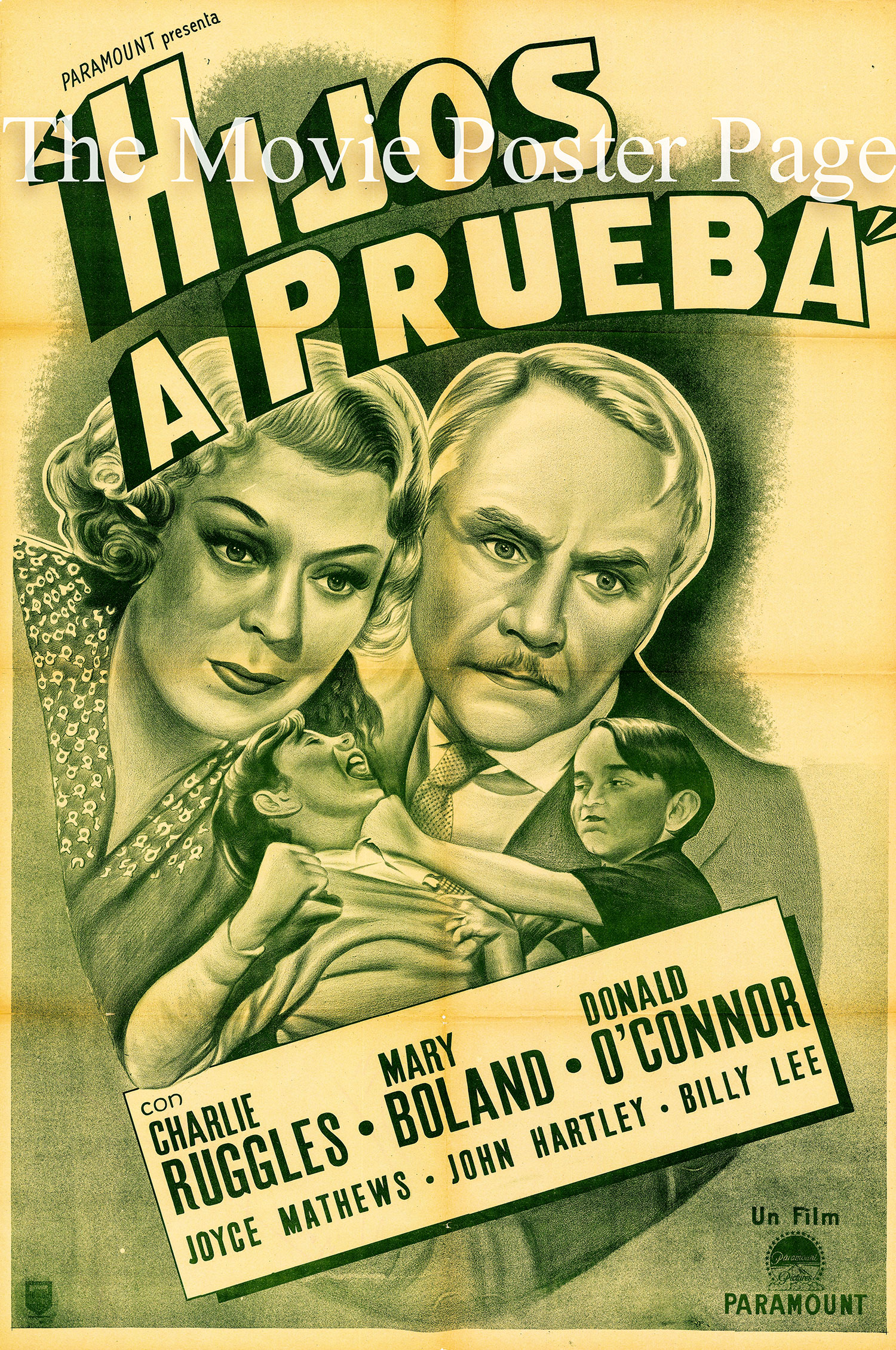 Pictured is an undated Argentine rerelease poster for the 1939 George Archainbaud film Boy Trouble starring Charles Ruggles as Homer C. Fitch.