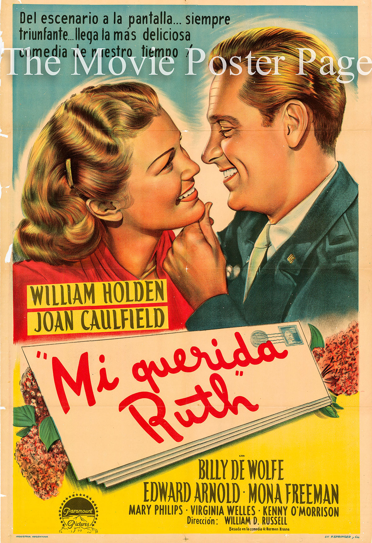 Pictured is an Argentine promotinal poster for the 1947 William D. Russell film Dear Ruth starring William Holden and Joan Caulfield.