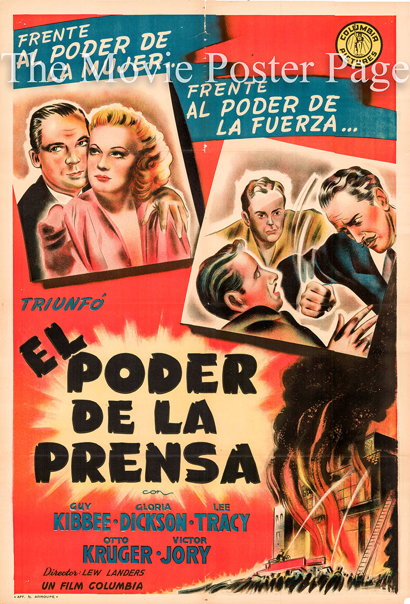 Pictured is an Argentine one-sheet poster for the 1943 Lew Landers film Power of the Press, starring Guy Kibbee as Ulysses Bradford.