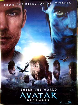 Pictured is a us promotional vinyl banner for the 2009 James Cameron film Avatar starring Sam Worthington and Zoe Saldana.