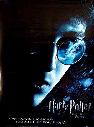 Pictured is a US promotional banner for the 2009 David Yates film Harry Potter and the Half-Blood Prince starring Daniel Radcliffe.