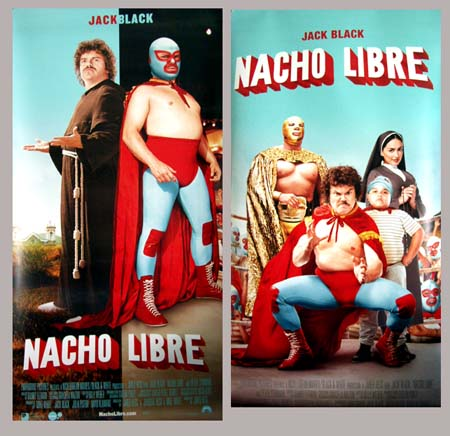 Pictured is a US vinyl promotional bannerfor the 2006 Jared Hess film Nacho Libre starring Jack Black.