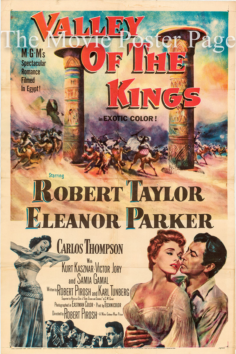 Pictured is a US one-sheet poster for the 1954 Robert Pirosh film Valley of the Kings starring Robert Taylor, featuring an image of Samia Gamal doing the Dance of the Houris.
