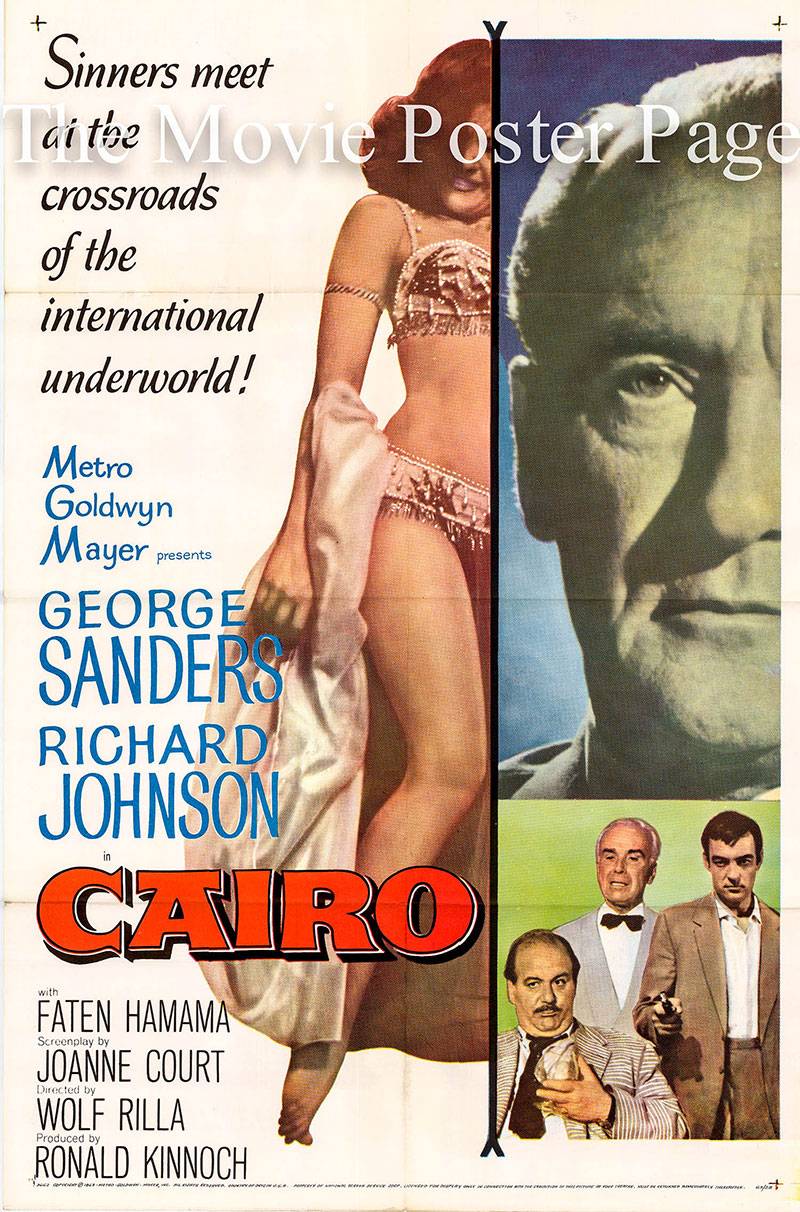 Pictured is a US one-sheet promotional poster for the 1963 Wolf Rilla film Cairo starring George Sanders.