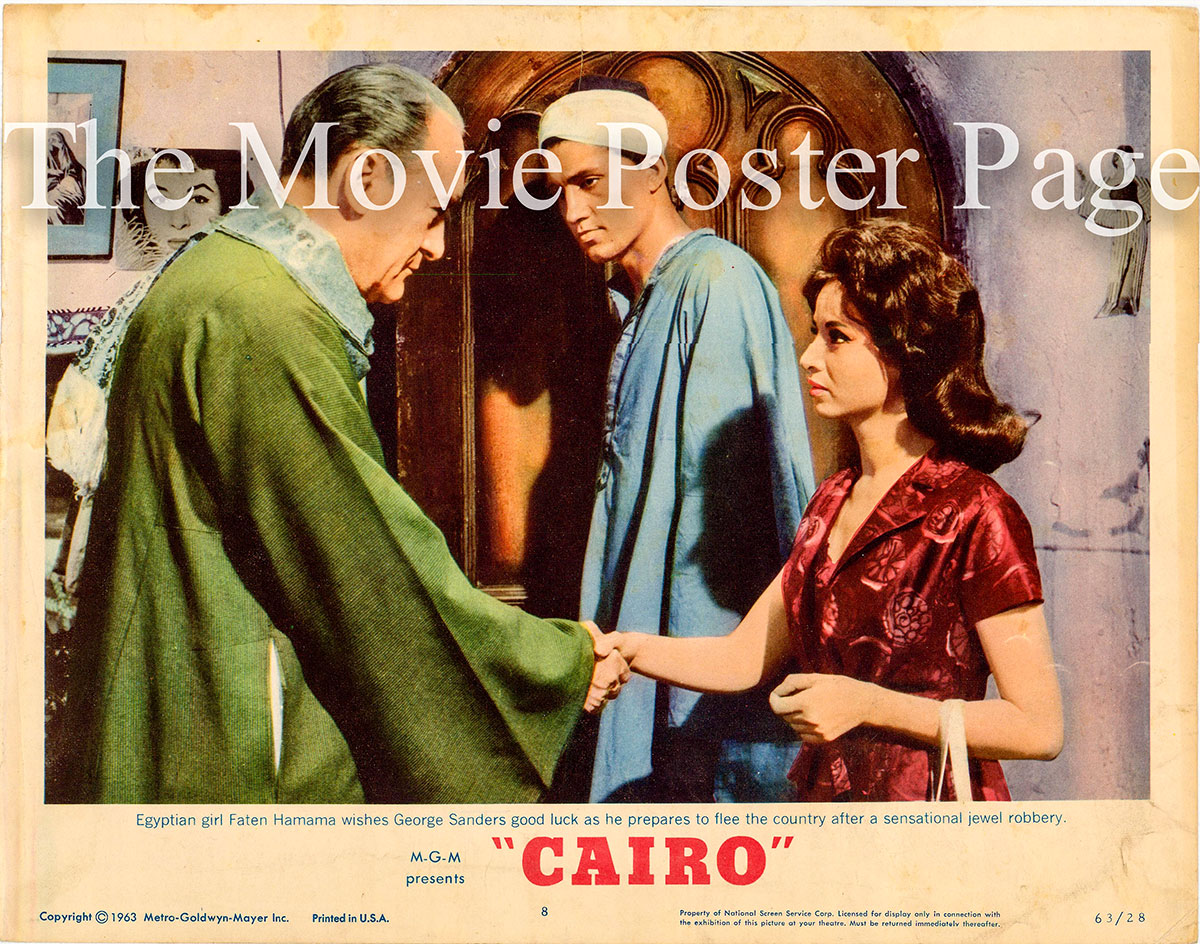 Pictured is a US lobby card promotional poster for the 1963 Wolf Rilla film Cairo starring George Sanders.