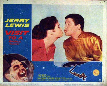 Pictured is a US promotional lobby card for the 1960 Norman Taurog film Visit to a Small Planet, starring Jerry Lewis and based on a play by Gore Vidal.