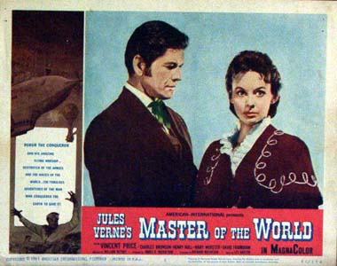 Pictured is a US promotional lobby card for the 1961 William Whitney film Master of the World starring Vincent Price and Charles Bronson.