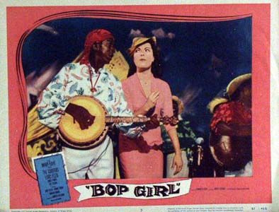 Pictured is a US promotional lobby card for the 1957 Howard W. Koch film Bop Girl starring Judy Tyler and Bobby Troupe.