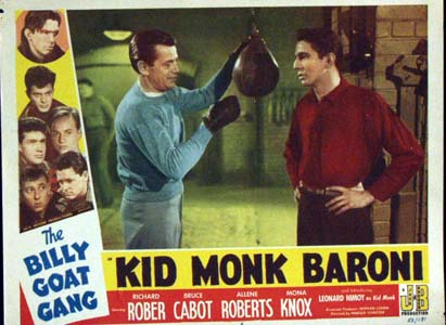 Pictured is a US lobby card for the 1952 Harold D. Schuster film Kid Monk Baroni, starring Leonard Nimoy.