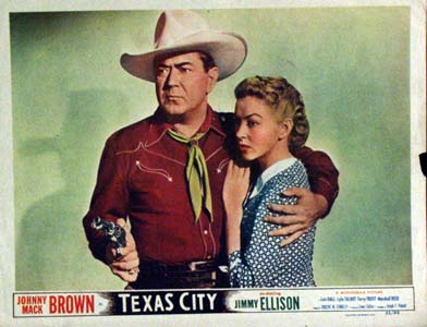 Pictured is a US lobby card for the 1952 Lewis D. Collins film Texas City starring Johnny Mack Brown.