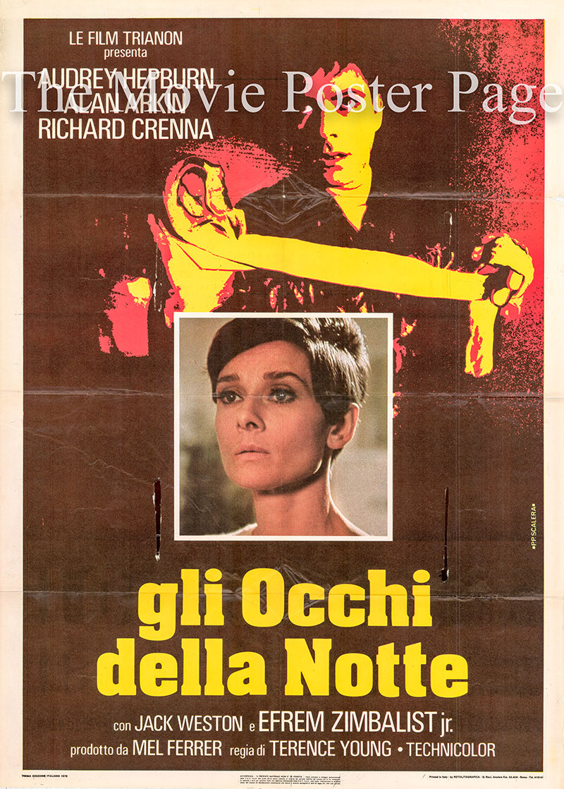 Pictured is an Italian two-sheet poster for the 1967 Terence Young film Wait Until Dark starring Audrey Hepburn.
