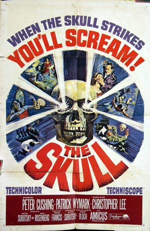 Pictured is a US one-sheet promotional poster for the 1965 Peter Francis film The Skull starring Peter Cushing.