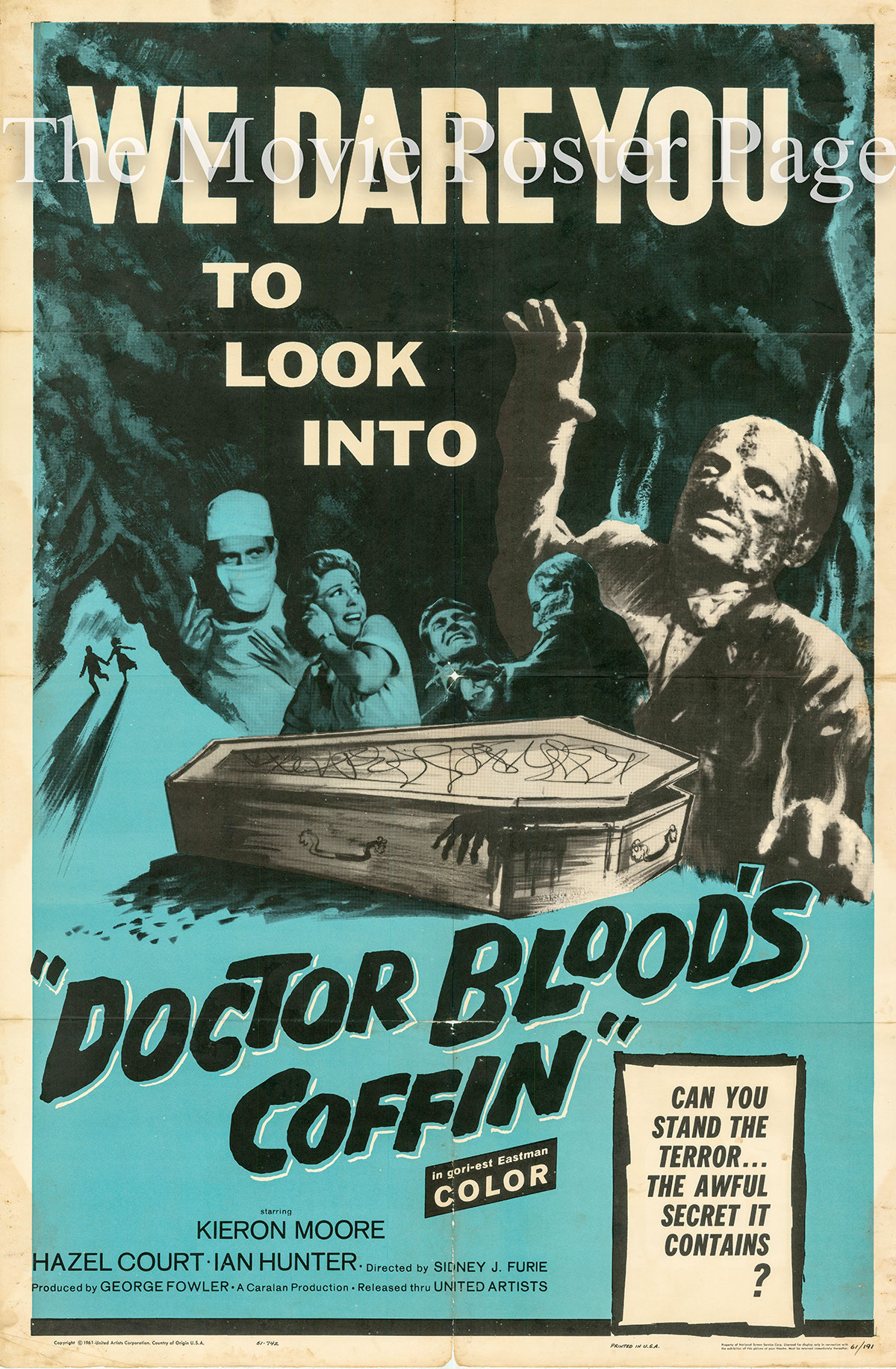 Pictured is a US one-sheet promotional poster for the 1961 Sidney J. Furie film Dr. Blood's Coffin starring Kieron Moore.