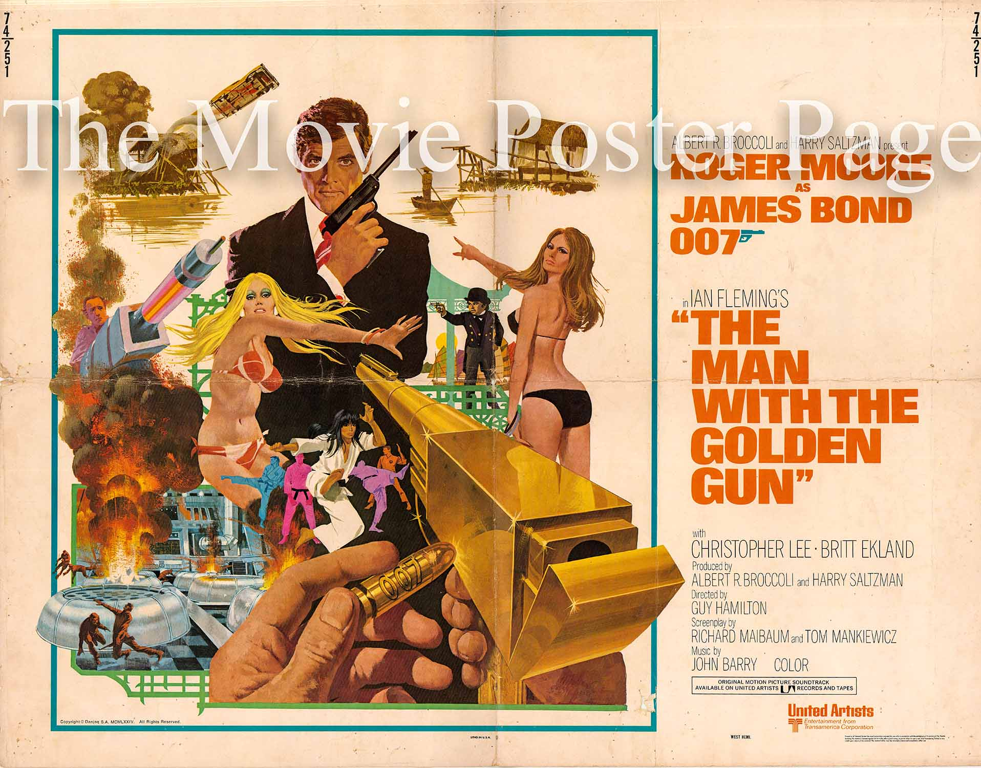 Pictured is a US half-sheet promotional poster for the 1974 Guy Hamilton film The Man with the Golden Gun starring Roger Moore.