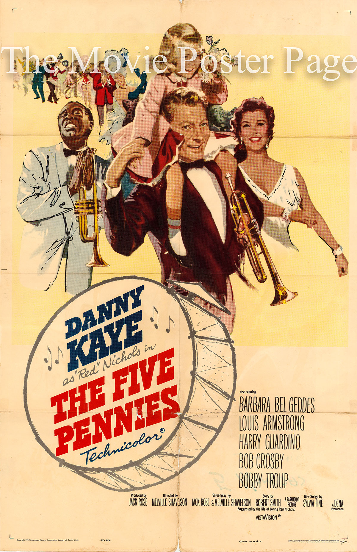 Pictured is a US promotional one-sheet poster for the 1959 Melville Shavelson film The Five Pennies starring Danny Kay as Red Nichols.