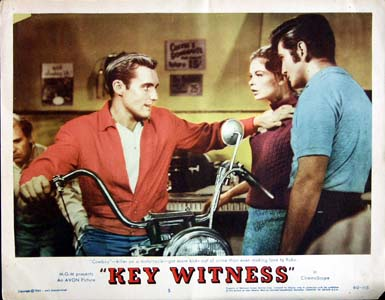 Pictured is a US lobby card for the 1960 Phil Karlson film Key Witness, starring Jeffrey Hunter and Dennis Hopper.