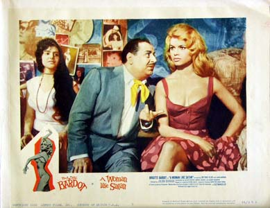 Pictured is a US lobby card for the 1959 Julien Duvivier film A Woman Like Satan starring Brigitte Bardot.