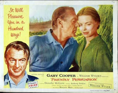 Pictured is a US lobby card set for the 1956 William Wyler film Friendly Persuasion starring Gary Cooper.