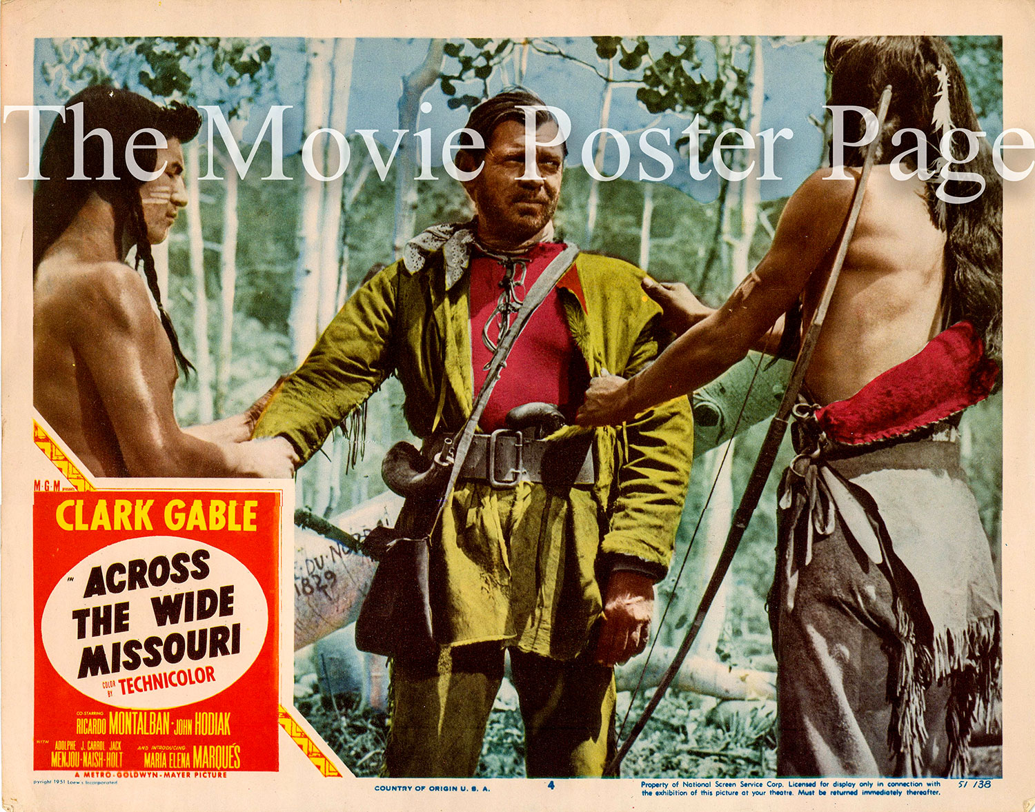 Pictured is a US lobby card promotional poster for the 1951 William A. Wellman film Across the Wide Missouri starring Clark Gable.