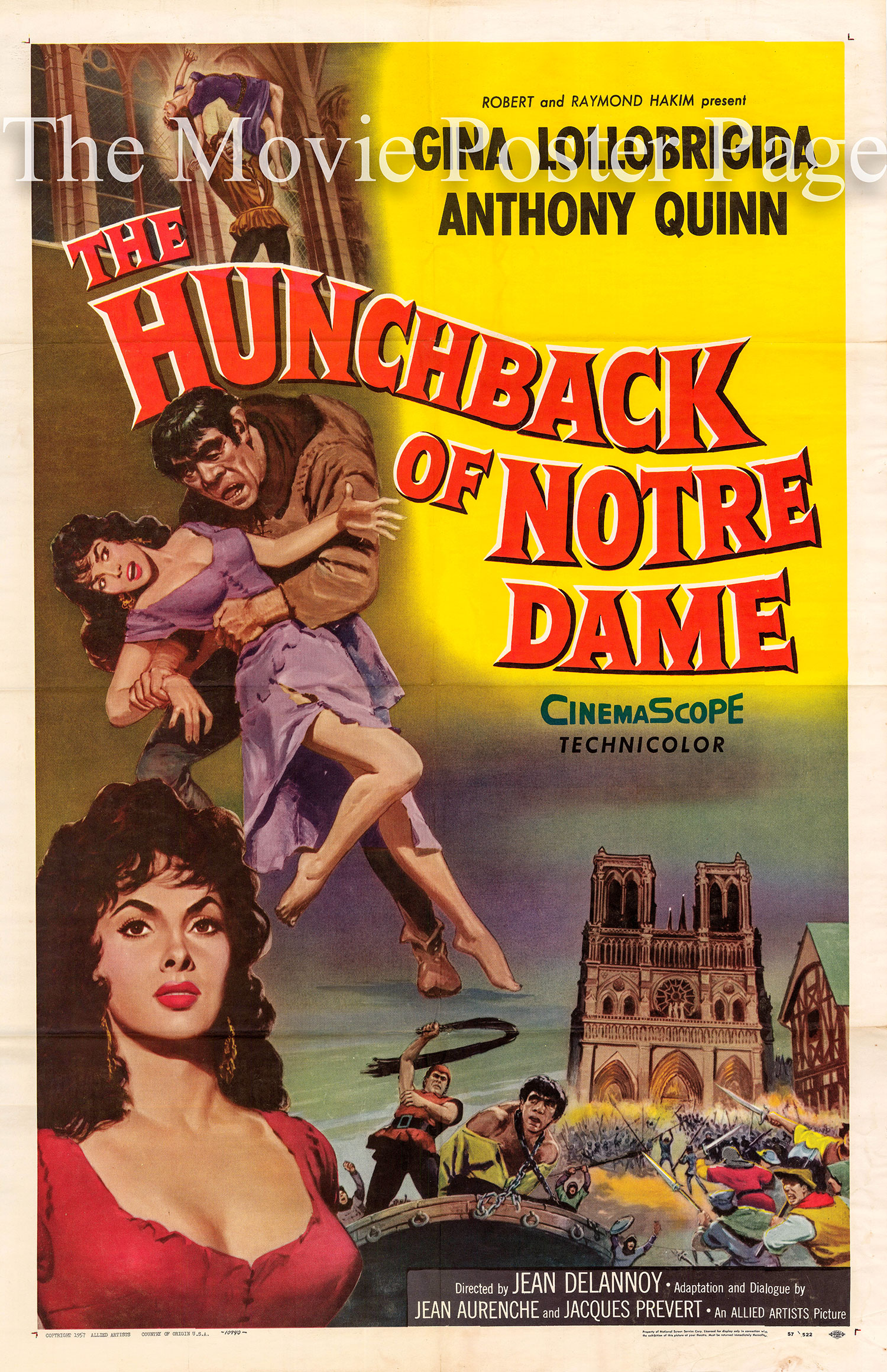 Pictured is a US one-sheet promotional poster for the 1956 Jean Delannoy film The Hunchback of Notre Dame starring Anthony Quinn and Gina Lollobrigida.