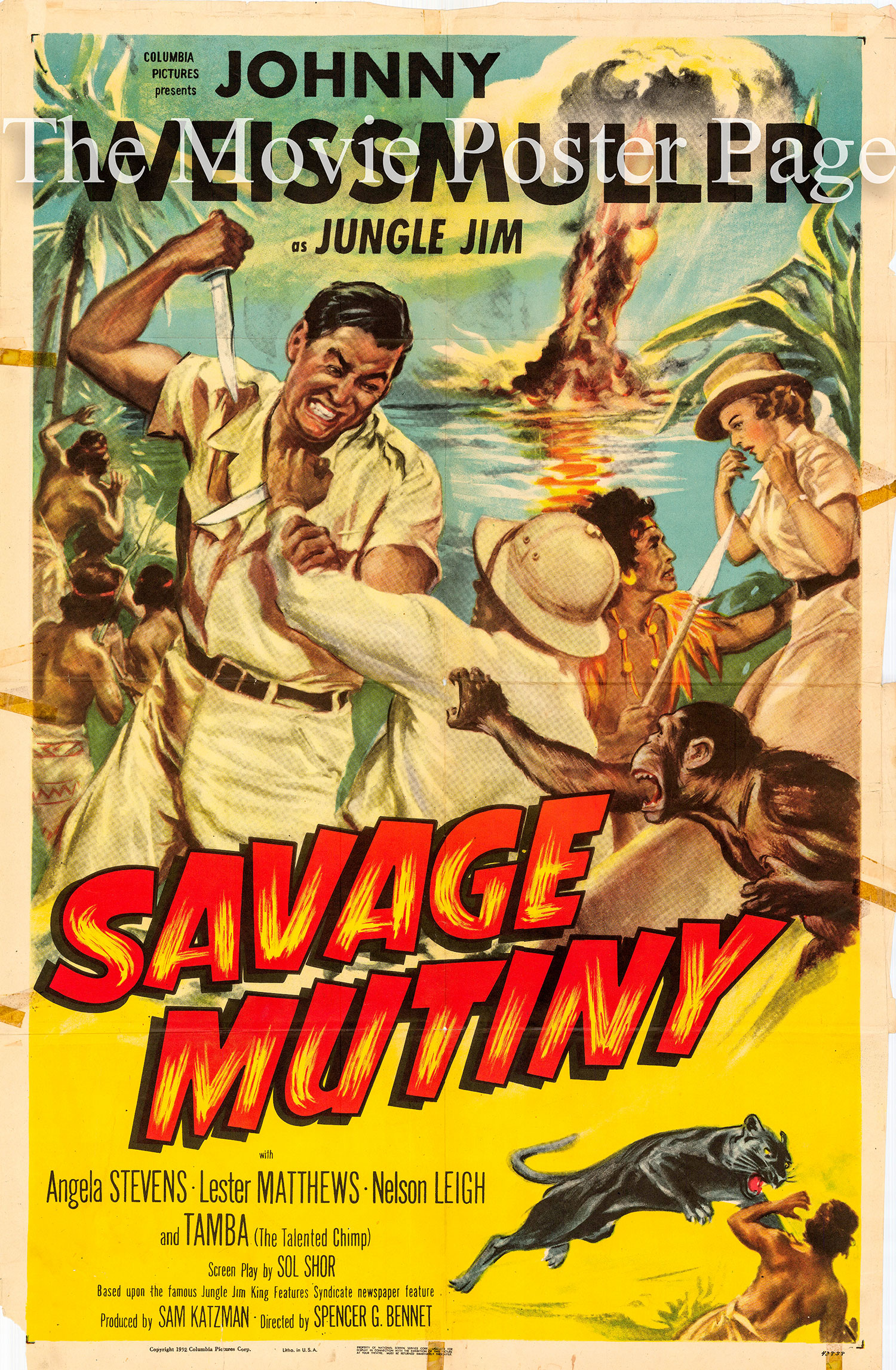 Pictured is a US one-sheet promotional poster for the 1952 Spencer Gordon Bennet Jungle Jim film Savage Mutiny starring Johnny Weissmuller.
