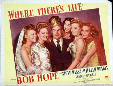 Pictured is a #6 promotional lobby card for the 1947 Sidney Lanfield film Where There's Life starring Bob Hope.