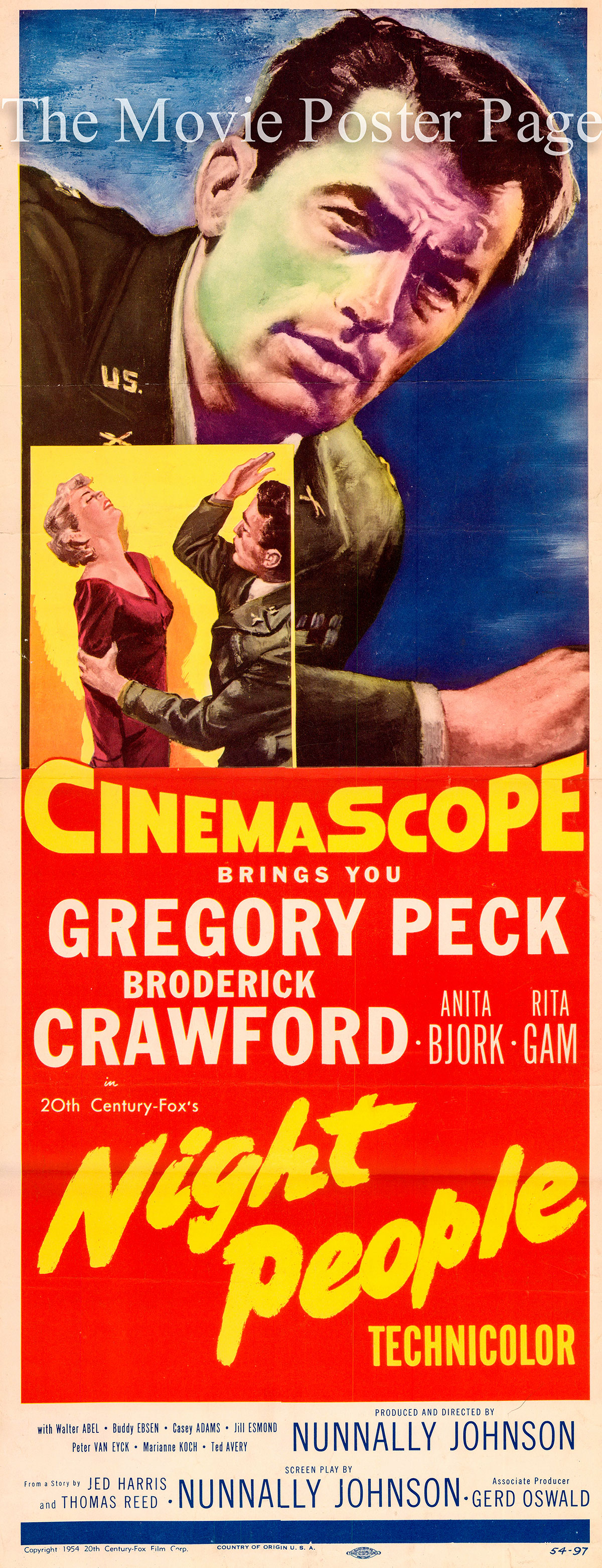 Pictured is a US insert promotional poster for the 1954 Nunnally Johnson film Night People starring Gregory Peck.