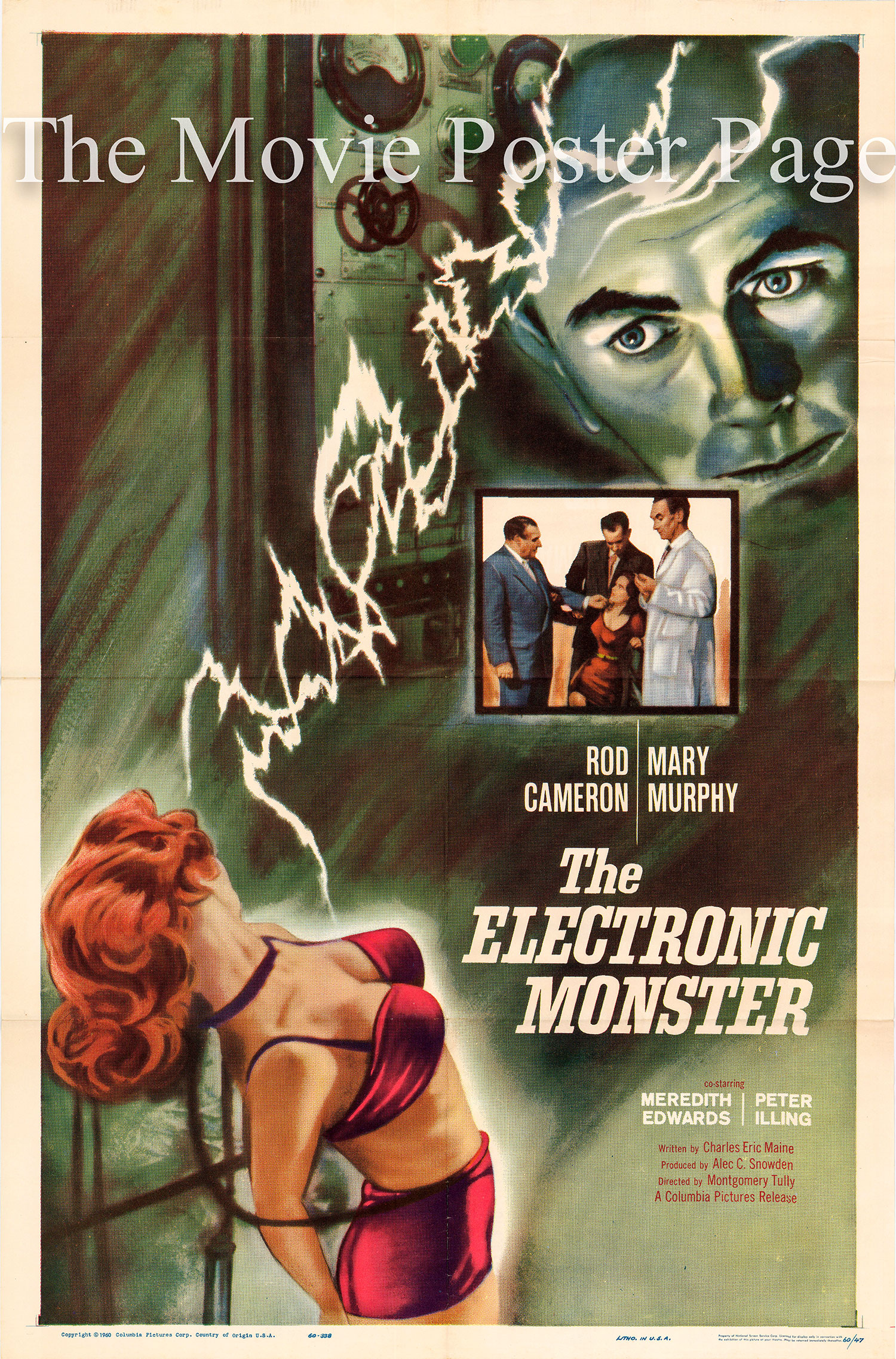 Pictured is a US one-sheet promotional poster for the 1960 Montgomery Tully film The Electronic Monster starring Rod Cameron.