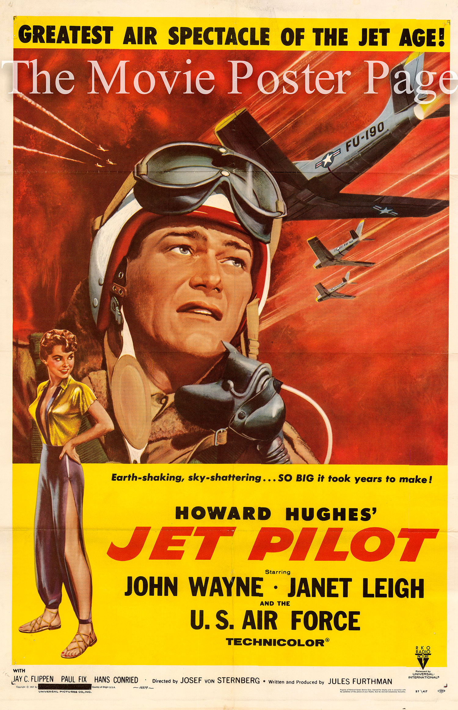 Pictured is a US one-sheet promotional poster for the 1957 Josef von Sternberg film Jet Pilot starring John Wayne and Janet Leigh.