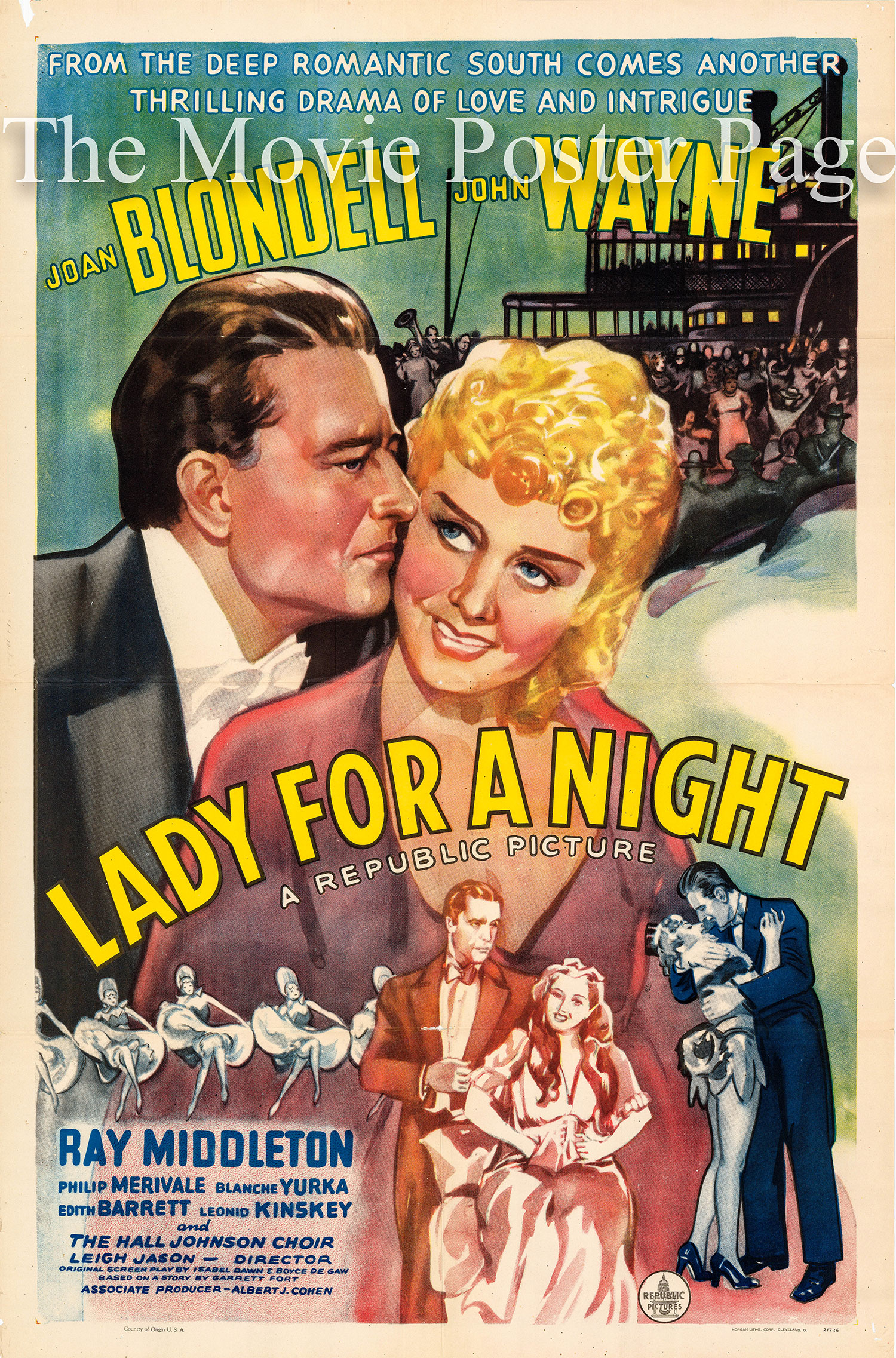 Pictured is a US one-sheet promotional poster for the 1942 Leigh Jason film Lady for a Night starring John Wayne and Joan Blondell.